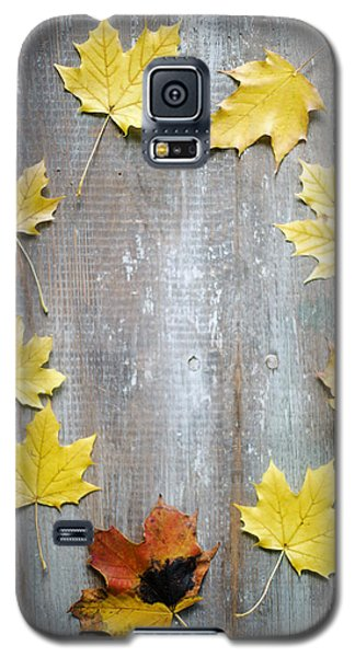 Circle Of Autumn Leaves On Weathered Wood Galaxy S5 Case