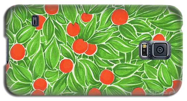 Galaxy S5 Case featuring the drawing Citrus Pattern by Cindy Garber Iverson