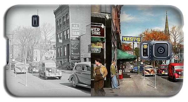 Galaxy S5 Case featuring the photograph City - Amsterdam Ny - Downtown Amsterdam 1941- Side By Side by Mike Savad