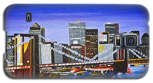 Galaxy S5 Case featuring the painting City At Twilight by Donna Blossom