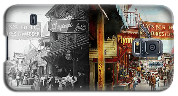 Galaxy S5 Case featuring the photograph City - Coney Island Ny - Bowery Beer 1903 - Side By Side by Mike Savad