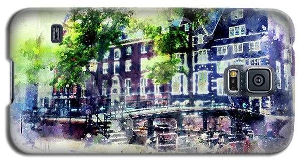 city life in watercolor style - Old Amsterdam  Galaxy S5 Case