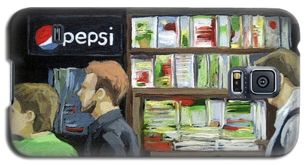 Galaxy S5 Case featuring the painting City Newsstand - People On The Street Painting by Linda Apple