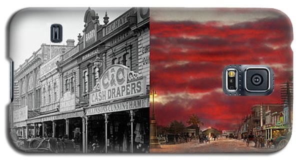 Galaxy S5 Case featuring the photograph City - Palmerston North Nz - The Shopping District 1908 - Side By Side by Mike Savad