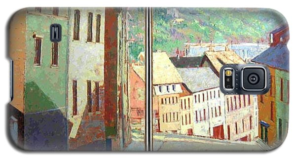 Galaxy S5 Case featuring the painting City Scape-dyptich by Walter Casaravilla