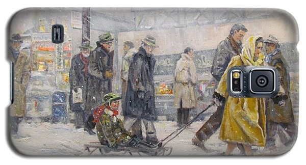 Galaxy S5 Case featuring the painting City Snow Ride by Donna Tucker