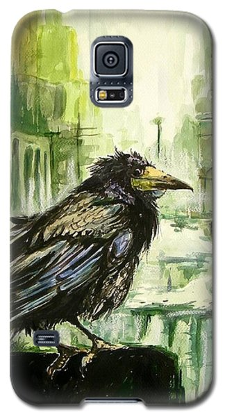 Falcon Galaxy S5 Case - Cityscape With A Crow by Suzann's Art