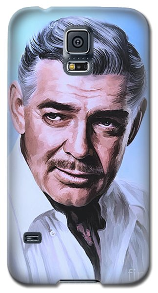 Galaxy S5 Case featuring the painting  Clark Gable 2 by Andrzej Szczerski