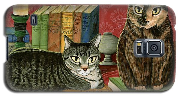 Galaxy S5 Case featuring the painting Classic Literary Cats by Carrie Hawks