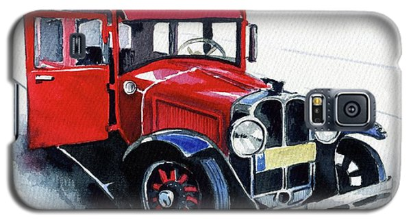 Galaxy S5 Case featuring the painting Classic Red Pontiac Car 1930 by Dora Hathazi Mendes