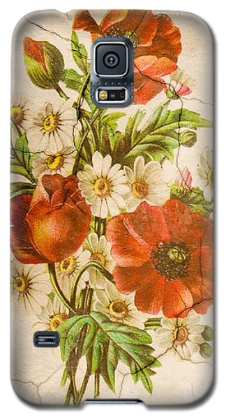 Classic Vintage Shabby Chic Rustic Poppy Bouquet Galaxy S5 Case
