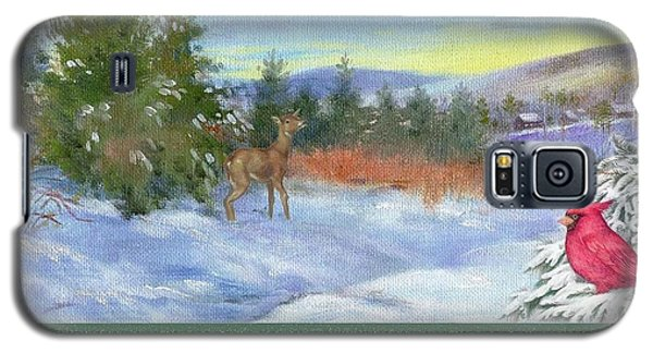 Classic Winterscape With Cardinal And Reindeer Galaxy S5 Case