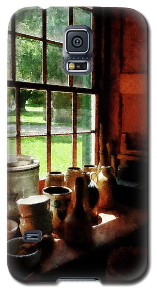 Galaxy S5 Case featuring the photograph Clay Jars On Windowsill by Susan Savad
