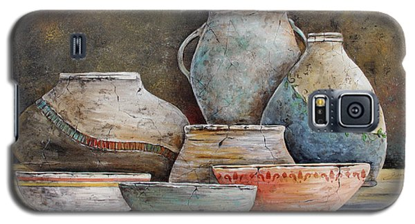 Galaxy S5 Case featuring the painting Clay Pottery Still Lifes-a by Jean Plout
