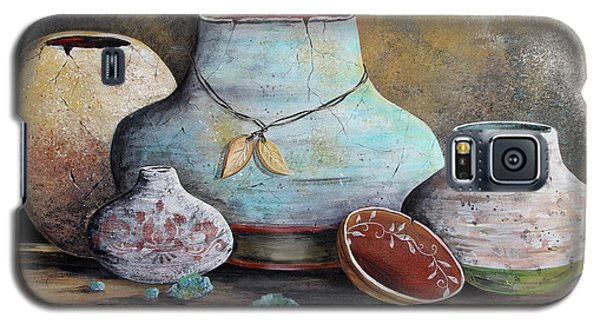 Galaxy S5 Case featuring the painting Clay Pottery Still Lifes-b by Jean Plout
