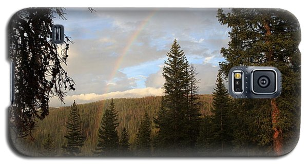 Galaxy S5 Case featuring the photograph Clearing Rain And Rainbow by Edward R Wisell