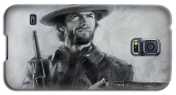 Galaxy S5 Case featuring the drawing Clint Eastwood by Viola El