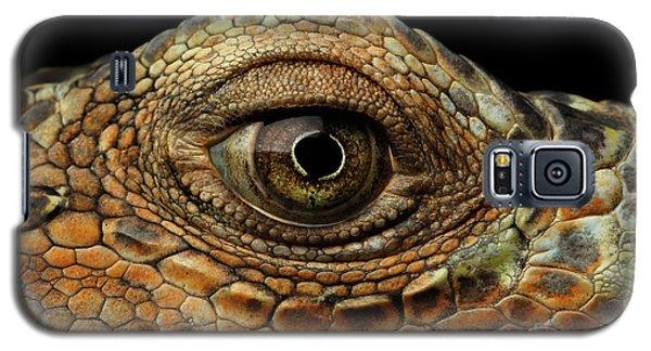 Closeup Eye Of Green Iguana, Looks Like A Dragon Galaxy S5 Case by Sergey Taran