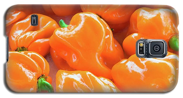 Closeup Of Fresh Chillies Habanero Orange Galaxy S5 Case