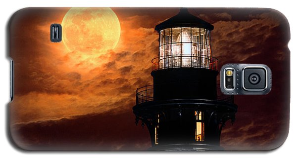Closeup Of Full Moon Rising Over St Augustine Lighthouse Galaxy S5 Case
