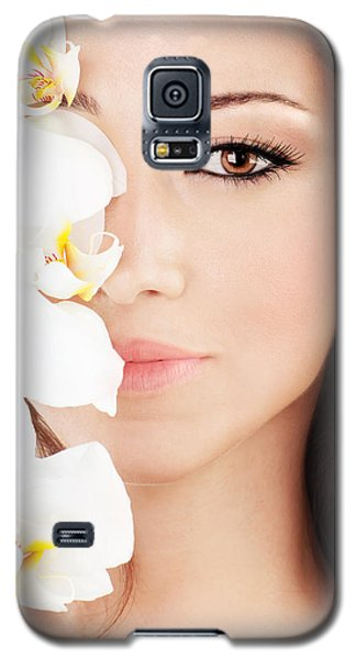 Closeup On Beautiful Face With Flowers Galaxy S5 Case