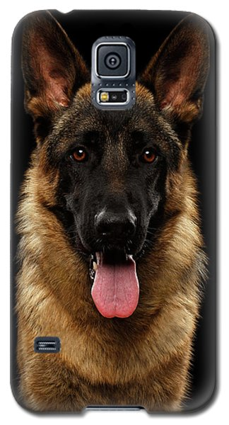 Closeup Portrait Of German Shepherd On Black  Galaxy S5 Case