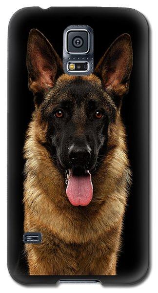 Dog Galaxy S5 Case - Closeup Portrait Of German Shepherd On Black  by Sergey Taran