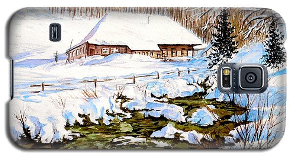 Galaxy S5 Case featuring the painting Clubhouse In Winter by Sher Nasser