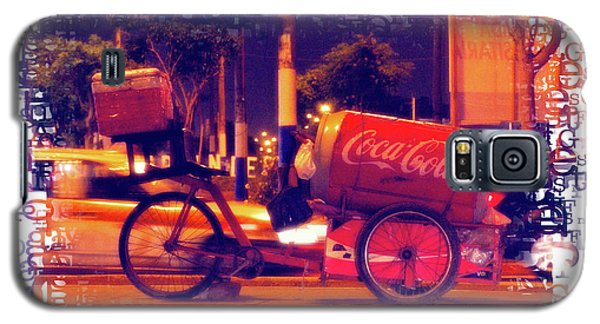 Galaxy S5 Case featuring the photograph Coca Cola Tricycle Bin - Lima by Mary Machare