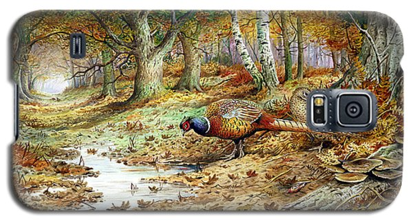 Pheasant Galaxy S5 Case - Cock Pheasant And Sulphur Tuft Fungi by Carl Donner