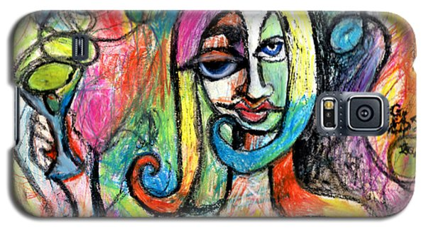Galaxy S5 Case featuring the mixed media Hippy Chic Funky Color Pop Cocktail by Genevieve Esson