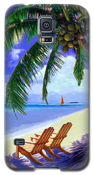 Galaxy S5 Case featuring the painting Coconut Palm by David  Van Hulst