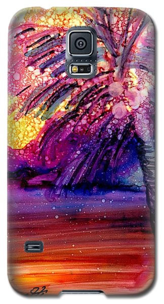 Galaxy S5 Case featuring the painting Coconut Palm Tree 2 by Marionette Taboniar