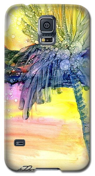 Galaxy S5 Case featuring the painting Coconut Palm Tree 3 by Marionette Taboniar