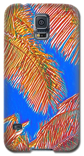 Coconut Palms In Red And Blue Galaxy S5 Case