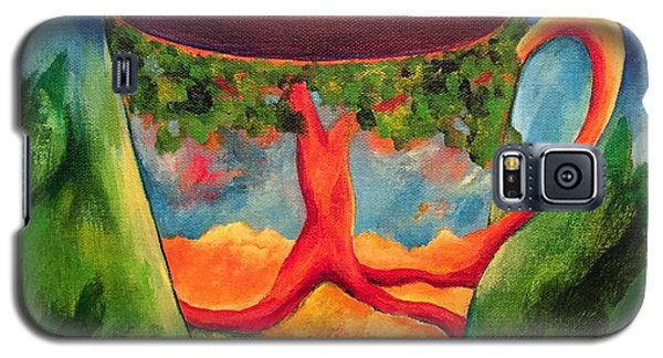 Galaxy S5 Case featuring the painting Coffee In The Park by Elizabeth Fontaine-Barr
