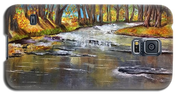 Galaxy S5 Case featuring the painting Cold Day At The Creek by Annamarie Sidella-Felts
