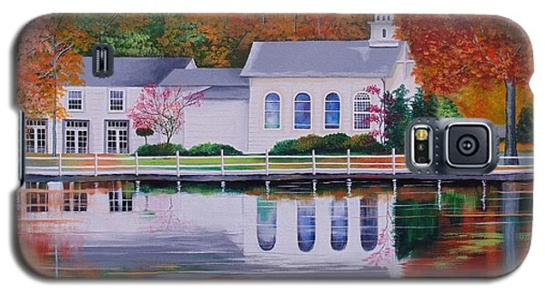Galaxy S5 Case featuring the painting Cold Spring Harbor St Johns Church by Nereida Rodriguez