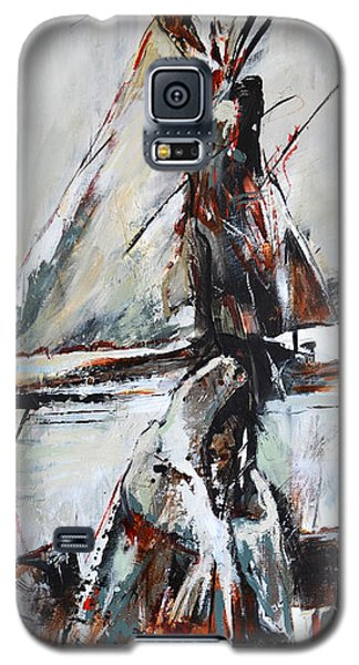 Galaxy S5 Case featuring the painting Cold Winter Day by Cher Devereaux