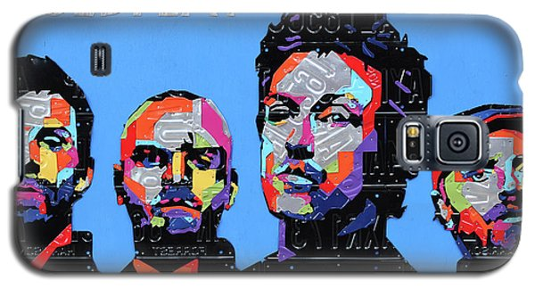 Coldplay Band Portrait Recycled License Plates Art On Blue Wood Galaxy S5 Case