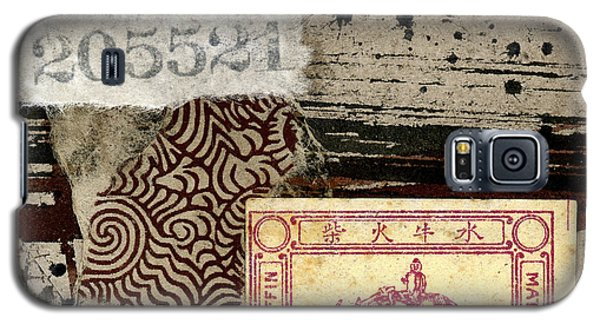 Galaxy S5 Case featuring the mixed media Collage Envelope Detail Monkey Water Buffalo by Carol Leigh
