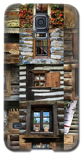 Collage From Handmade Traditional Wooden  Windows In Village Museum Bucharest Galaxy S5 Case