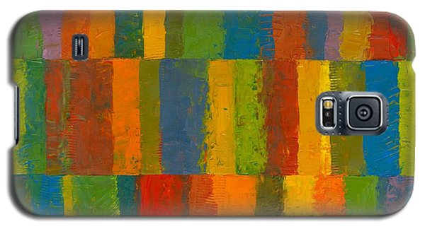 Galaxy S5 Case featuring the painting Color Collage With Stripes by Michelle Calkins