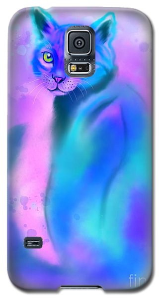 Galaxy S5 Case featuring the painting Color Wash Cat by Nick Gustafson