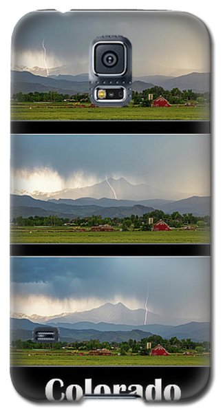Galaxy S5 Case featuring the photograph Colorado Front Range Longs Peak Lightning And Rain Poster by James BO Insogna