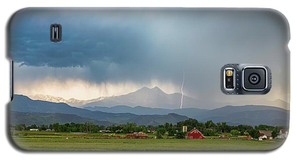 Galaxy S5 Case featuring the photograph Colorado Rocky Mountain Red Barn Country Storm by James BO Insogna