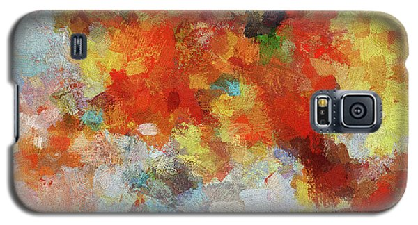Galaxy S5 Case featuring the painting Colorful Abstract Landscape Painting by Ayse Deniz