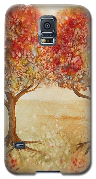 Colorful Autumn Twin Trees Galaxy S5 Case by Kerri Ligatich