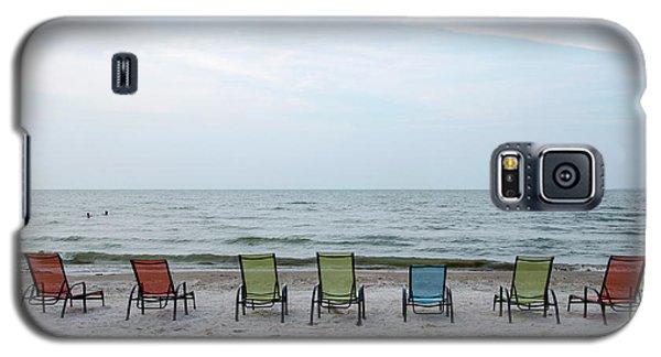 Galaxy S5 Case featuring the photograph Colorful Beach Chairs by Ann Bridges