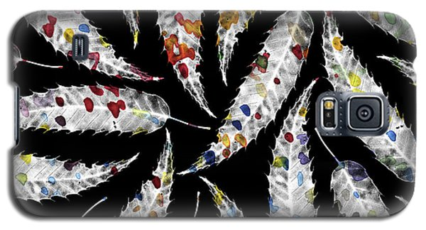Colorful Black And White Leaves Galaxy S5 Case by Susanne Kasielke